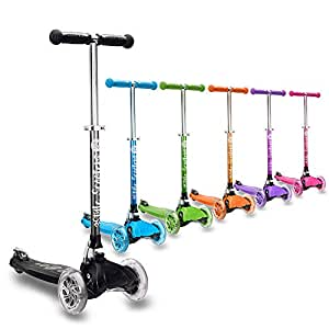 3Style Scooters® RGS-1 Little Kids Three Wheel Kick Scooter In Black - Perfect for Children Aged 3+ - LED Light-Up Wheels, Foldable Design, Adjustable Handles & Lightweight Construction