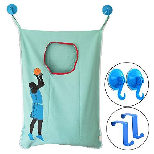 HAMRAY Wäschesack zum Aufhängen über der Tür mit Basketballkorb, Schießen, Verdunkeln, Türhaken, hält schmutzige Kleidung im Badezimmer 75 * 58 cm blau