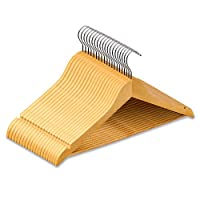 Nyxi Pack of 20 Grade A, Clothes Hangers Natural Wooden Wood Clothes Coat Hangers with Round Trouser Bar and Shoulder Notches Strong Premium Heavy Duty