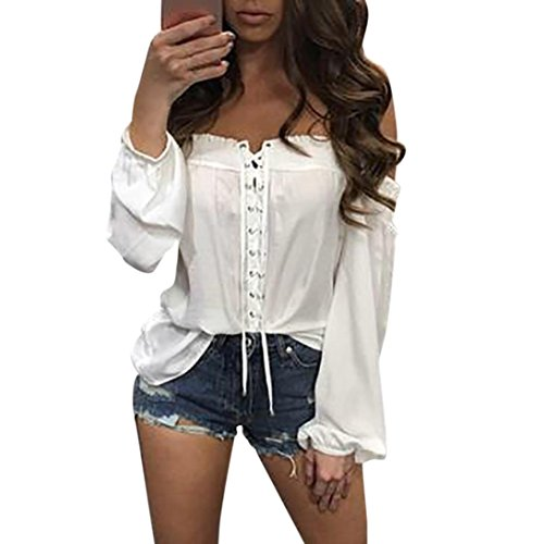 Culater Moda Mujer Camisetas Verano suelta informal blusa (XL, Blanco)