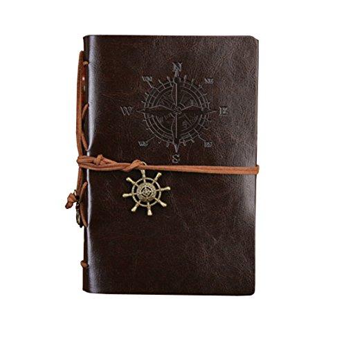 Notebook rellenable / Diario / álbum / Sketchbook con la cubierta del cuero de la PU (patrón de barcos piratas vintage, café) por Yeelan