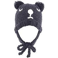 Wovemster Sombrero Unisex Baby Beanie Cream Bear Sombrero Cálido Gorro de Punto Color Sólido Sombrero de Invierno, Gris Oscuro