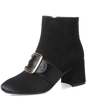 Botas Nuevas Femeninas Otoño E Invierno Cuero Genuino Caballo Finas Chunky Heels Tacones
