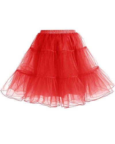 Gardenwed Kurz Damenrock 1950 Petticoat Reifrock Unterrock Tutu Minirock Ballett Tanzkleid Underskirt Crinoline für Rockabilly Kleid Red L - 2