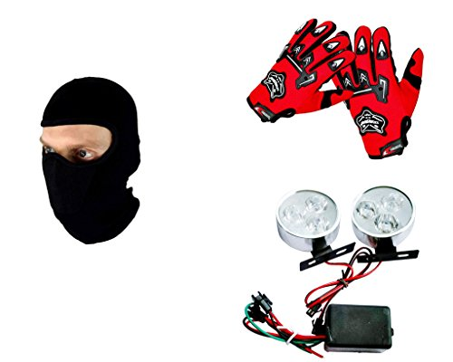 Auto Pearl Premium Quality Bike Accessories Combo Of Balaclava Black Face Mask Net For Bike Riding Sunscreen Dust Proof Mask. & Knighthood Hand Grip Glove Red 1 Pair. & Premium Quality Car 1 Pair 3 LED warning lamp strobe flash Offroad fog light (White).  available at amazon for Rs.1226