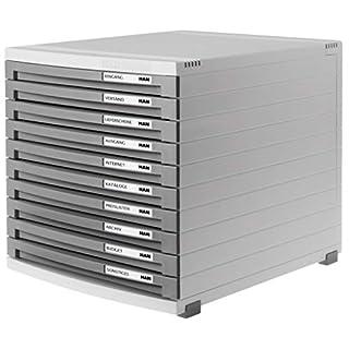 HAN 1510-19, module à tiroirs CONTUR, système d'organisation moderne, extensible, qualité premium pour une organisation professionnelle avec 10 tiroirs fermés, gris clair-gris foncé