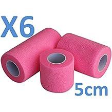 Venda Cohesiva Rosa rollos x 5 cm x 4,5 m autoadhesivo flexible vendaje, calidad profesional, primeros auxilios Deportes Wrap Vendas - Pack de 6