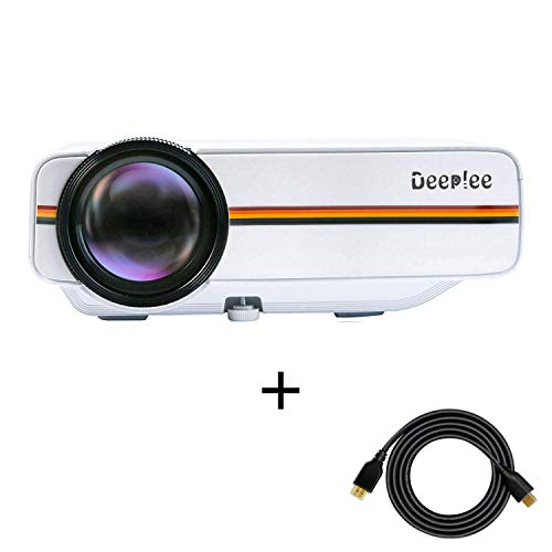 Proyector, Deeplee Mini Vídeo Proyector Portatil 1500 Lumens LCD HD 1080P USB HDMI VGA AV Multimedia Home Theater Proyector Videojuego/Fotos/Película Soporte para PC Tarjeta SD Disco Duro - Blanco