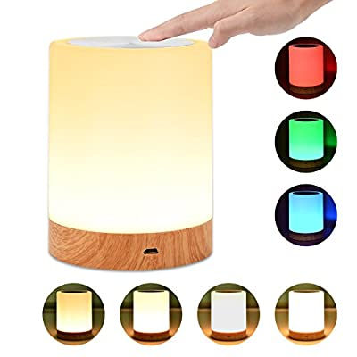 Bedside Touch Lamp,UNIFUN Touch Sensor Table Lamp LED Smart Atmosphere Mood Night Light + USB Rechargeable Dimmable Warm White Light & Color Changing RGB