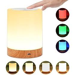 UNIFUN Lampada da Comodino Lampada Controllo Touch Dimmerabile con Colori Cangianti RGB e Luce Bianca Calda per Camera da Letto con Tre Livelli di Luce Graduale