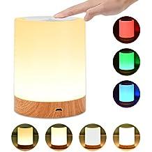 UNIFUN Lámpara de Mesa Recargable con Luz Blanca Cálida Regulable & Color-Cambiante RGB, Lámpara Táctil con una iluminación de 360 grados para Habitaciones