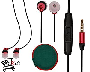 Premium 3.5mm In Ear Bud Handsfree Headset Earphones With Mic Compatible For LG G Flex 3 -Red