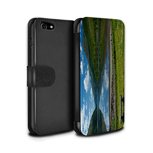 STUFF4 PU-Leder Hülle/Case/Tasche/Cover für Apple iPhone 7 / Tal Muster / Schottisch Landschaft Kollektion Loch/Bank