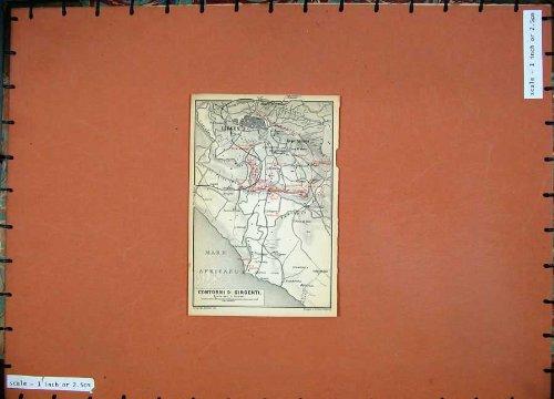 1896 Antike Karte (1896 Karten-Italien-Plan Girgenti-Stute Africano Rupe Atenea)