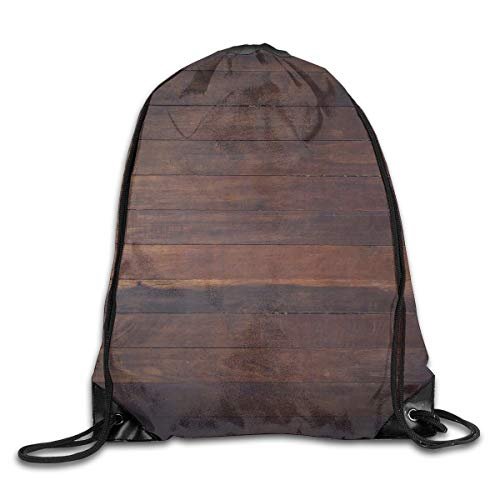 YOWAKi Printed Drawstring Backpacks Bags,Aged Weathered Dark Timber Oak Wooden Planks Floor Image Country Life Carpentry,Adjustable String Closure -