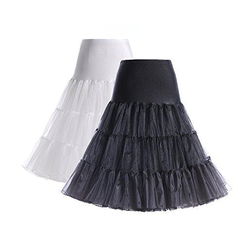BOOLAVARD® 50er Jahre Petticoat Vintage Retro Reifrock Petticoat Unterrock für Wedding bridal Petticoat Rockabilly Kleid in mehreren Farben 2er Gesmicht (Schwarz + Weiss)