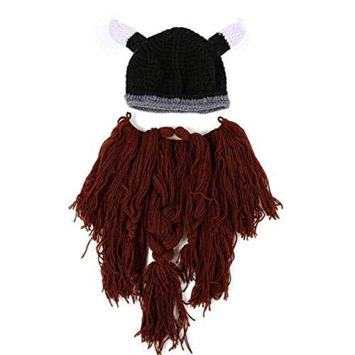 Vpuquuz Herren Frauen Erwachsene Gesichtsmaske Schnurrbart Bart Hut Beanie Viking Gestrickte Ski Cap Winter Warme Roman Lustige Geschenk Häkeln Kappe (Kaffee)