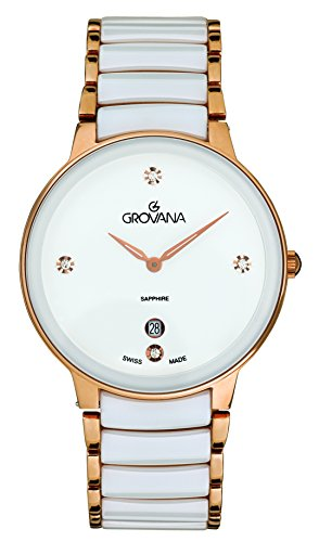 Grovana Women's Quartz Watch with White Dial Analogue Display and Two Tone Ceramic Bracelet 4020.1153