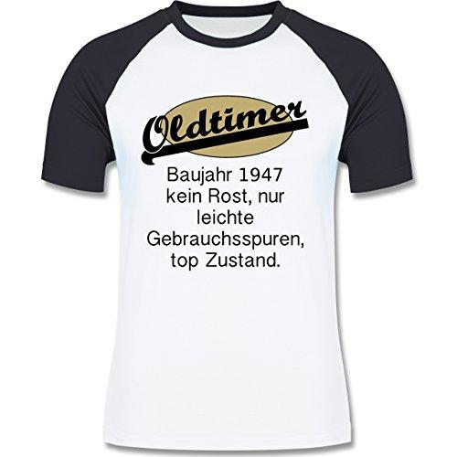 Geburtstag - 70. Geburtstag Oldtimer Fun Baujahr 1947 - zweifarbiges Baseballshirt für Männer Weiß/Navy Blau
