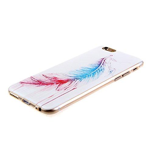 iPhone 6S Hülle,iPhone 6 Hülle [Scratch-Resistant],iPhone 6S / 6 Hülle 4.7, ISAKEN iPhone 6S 6 4.7 Ultra Slim Perfect Fit Bunt Muster TPU Clear Transparent Protective back Hülle Hüllen Beschützer Haut Blau Rot Feder