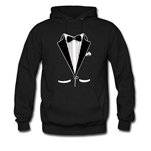 HGLee Printed DIY Custom Tuxedo Women's Hoodie Hooded Sweatshirt Black--2