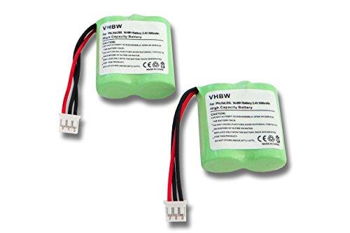 vhbw 2X NiMH batería 600mAh (2.4V) para teléfono Fijo inalámbrico teléfono Philips Xalio 200, 200 Duo por CP51, 91C, BC103510, etc.