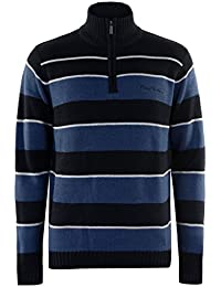Pierre Cardin 1/4 Zip Rayé Pull Top Sweat Cotton Hommes