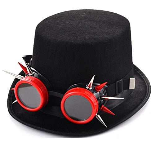DETZFSWBG Steampunk Hüte für Männer Red Rivet Goggles Hut Spike Fedora Cosplay Hüte mit Steam Punk Brille