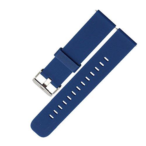 DL 18 20 22 mm Uhrenarmband Silikon, Quick Release Sport Armbanduhr Band mit Edelstahl Schnalle, Ersatz Weiche Gummi Schutzhülle mit verstellbarem Metall-Verschluss, für Damen und Herren, dunkelblau