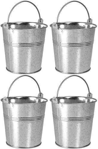 4 x Small 9cm Galvanised Metal Serving Buckets / Cutlery Caddies