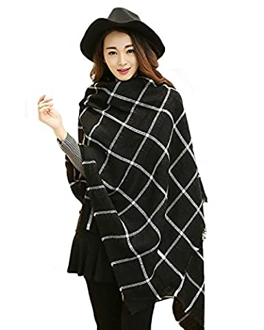 Women's Plaid Scarf Oversized Multifunction Fall Winter Soft Warm Long Scarves Cape Shawl ( Black )