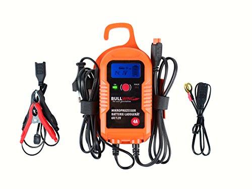 Bullwing 4 Ampere intelligentes Batterie-Ladegerät 6/12V Mikroprozessor, Gel Batterie, Wet Batterie, AGM Batterie, geeignet für Auto, Motorrad, Boot, Roller, Mofa, KFZ, LKW, Transporter