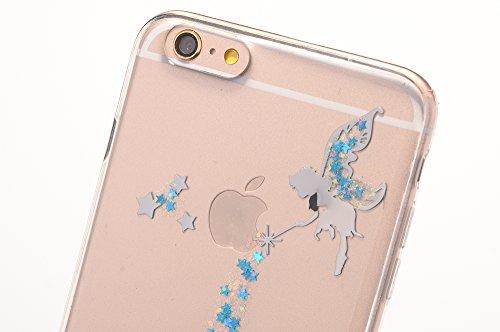 Sycode Case Cover per iPhone 6S Plus,Custodia per iPhone 6 Plus,Lusso Creative Trasparente Glitter Bling Brillante Sparkle Argento Fairy Fata Pattern Progettare Ultra Sottile Flessibile Morbida Silico Fata,Blu