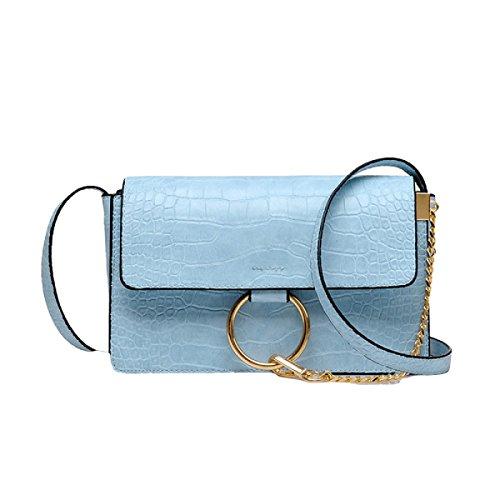 Handtaschen Mode Ring Schultertasche Messenger Bag Wilden Kleinen Paket Blue