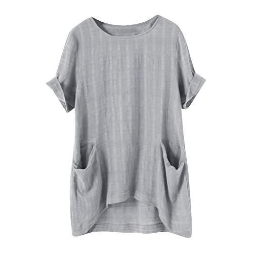 8a87bc3d30d Lazzboy T Shirt Top Women Plain Short Sleeve Tee Oversized Ladies Loose  Blouse Plus Size(
