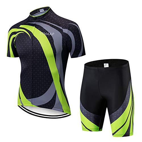 X-Labor Herren Radtrikot Set Atmungsaktiv Schnelltrockend Jersey Shirts Kurzarm + Radhose mit 3D Sitzpolster MTB Fahrradbekleidung Motiv-6 2XL -