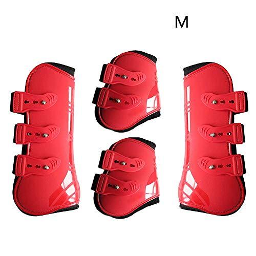 MOOUK 4 STK Pferd Bein Neopren Stiefel, PU Leder Beinwickel Verstellbar Vorne Hind Bein Stiefel Reitsport Bein Schutz Reiter Sehnen Schutz Pferd Sprunggelenk Bandage - Rot, L -
