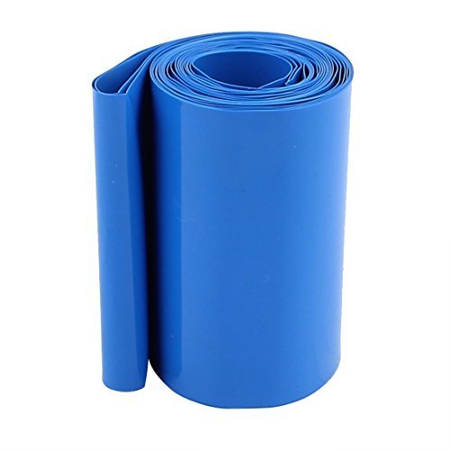 UXCELL Sellify 70mm Width 3 Meter Length PVC Heat Shrink Tube Tubing Blue for 4 x 18650 Battery