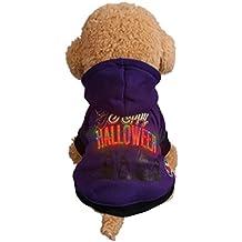 Dikewang Animal secouer lumière Tête de mort à citrouille Halloween Chien Pull en polaire pour animal domestique T-shirt LED Débit Vêtements pour Clelebrating Halloween-xs-xl
