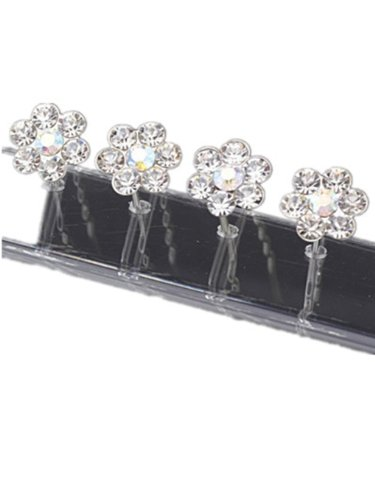 6 Of SPARKLY Silver flower DIAMANTE STONE HAIR PINS Diamante Crystal Bridal Hair