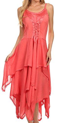Sakkas 9031 Lady Mary Jacquard Korsett Stil Bodice Leichtes Taschentuch Hem Kleid - Coral - One (Kleid Korsett Renaissance)