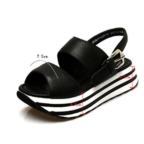 Chaussures d'été Chaussures en cuir étouffées en épaisseur Boucles de ceinture Chaussettes de poitrine Sandales plates (2 couleurs en option) (taille facultative) ( Couleur : B , taille : 38 ) B