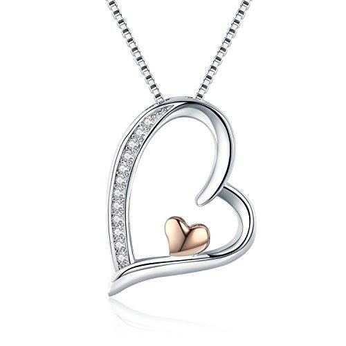 Herz Kette Damen 925 Silber Rosé-Gold Herz Anhänger Halskette Zirkonia 45CM Kettenlänge Kette für Damen (Damen Kette Rose Gold)