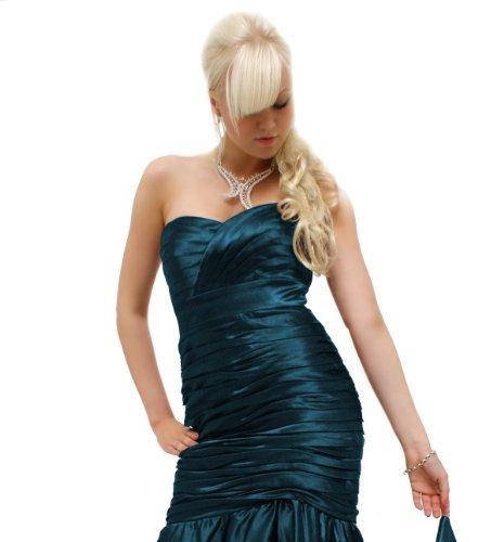 Edles Satin Godet Abendkleid Ballkleid (R2231L) in verschiedenen Farben Sofort Lieferbar Petrol