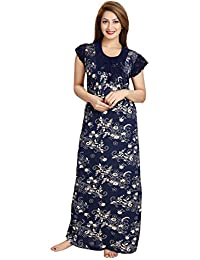 Lovira Women Serena Satin Navy Blue Printed Night Gown (Free Size)