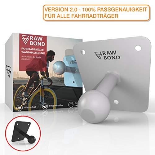 RAWBOND® Wandhalter für Fahrradträger | Inkl. Schrauben, U-Scheibe & Dübelsatz | Extra Lange Wandhalterung für deinen Fahrradheckträger | Halterung mit Gratis eBook