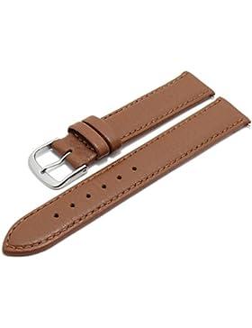 Meyhofer Uhrenarmband Neuss EASY-CLICK 16mm mittelbraun Hirsch-Leder genarbt abgenäht Made in Germany My2fcml2022