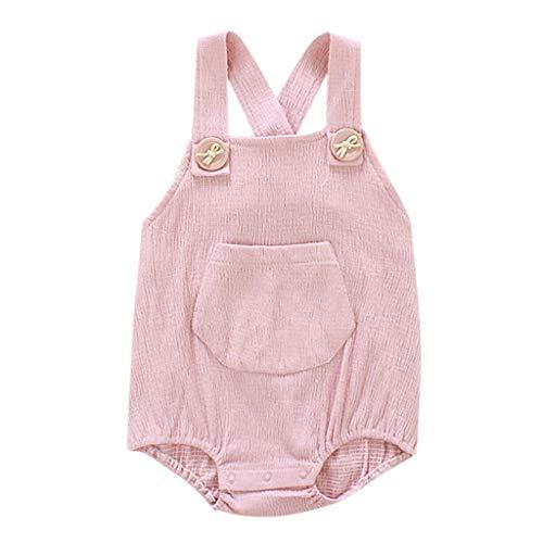 baby Kind Jungen Mädchen Rückenfreie Feste Hosenträger Spielanzug Einfach Bodysuit Mit Tasche Koreanische Version Mode Wild Ausstattungen Sommer Strampler ()