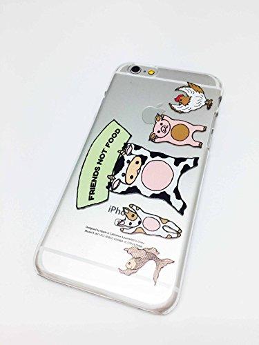 iPhone 6/6S Kompatibel, Glossy Colorful transluzenten Gummi Hard Apple iPhone Schutzhülle-der Freunde Nicht die Nahrungsmittel Tierliebhaber Vegan Farm Rind MOO Tiere Kuh Schwein Fisch Henne - Indische Mop