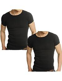 Men's 2 x Pack Raiken Ribbed Slim Fit Crew Neck Cotton Jersey T-Shirt Size